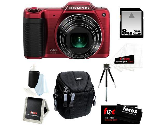 Olympus Stylus SZ-15 16MP Digital Camera with 24x Optical Zoom + 8GB Memory Card + Kit Bundle