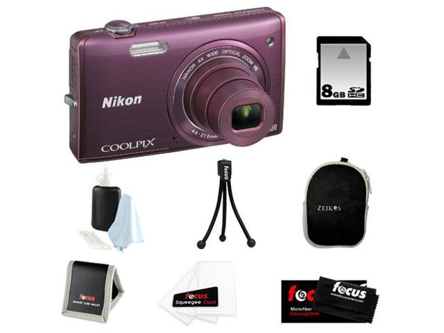 Nikon COOLPIX S5200 + 8GB SD HC Memory Card + Small Black Neoprene Case for Digital Cameras + Focus Micro Fiber Cleaning Cloth + Accessory Kit