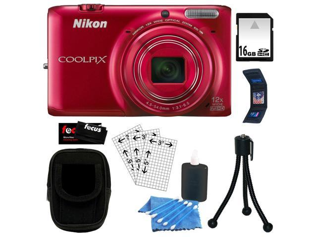 Nikon COOLPIX S6500 16MP Wi-Fi Digital Camera with 12x Optical Zoom and Built in GPS + 16 GB SDHC Memory Card + Camera Case + Memory Wallet + Accessory Kit
