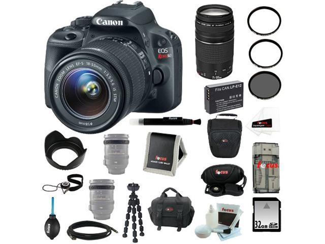 Canon SL1 EOS Rebel SL1 with EF-S 18-55mm IS STM + Canon 75-300mm f/4.0-5.6 EF III Zoom Lens + 32GB SD HC Memory Card + Rechargeable ...