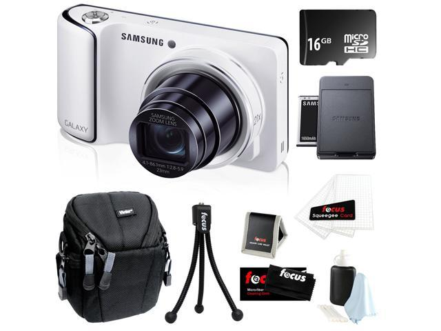 Samsung Galaxy GC110 16MP Android 4.1 Jelly Bean wi-Fi Digital Camera with 21x Optical Zoom and 4.8-inch Touchscreen in White + 16GB Micro SDHC + Samsung Galaxy Battery & Charger + Camera Case + Kit