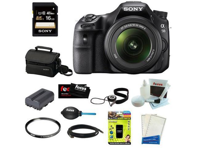 """Sony SLT-A58K SLT-A58 with 18-55mm Zoom Lens, 20.1MP DSLR Camera w/ 2.7"""" LCD Screen + Sony 16GB Memory Card + Sony Small ..."""