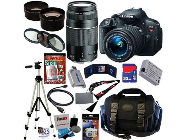 Canon t5i EOS Rebel T5i 18.0 MP CMOS Digital Camera with EF-S 18-55mm f/3.5-5.6 IS STM Zoom Lens + EF 75-300mm f/4-5.6 III Telephoto Zoom Lens + Telephoto & Wide Angle Lenses + 12pc 32GB Best DLSR Kit