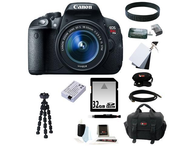 Canon T5i: EOS Rebel T5i 18.0 MP CMOS Digital Camera with EF-S 18-55mm f/3.5-5.6 IS STM Zoom Lens + 11pc Bundle 32GB Best DSLR Camera Kit