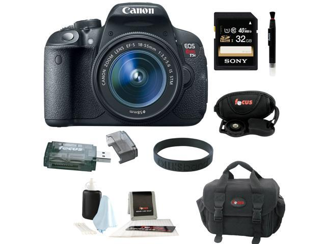 Canon T5i: EOS Rebel T5i 18.0 MP CMOS Digital Camera with EF-S 18-55mm f/3.5-5.6 IS STM Zoom Lens + 7pc Bundle 32GB Best Camera Kit