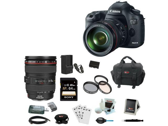 Canon 5D EOS 5D Mark III 22.3 MP Full Frame CMOS Digital SLR Camera with EF 24-105mm f/4 L IS USM Lens + Canon Gadget Bag ...