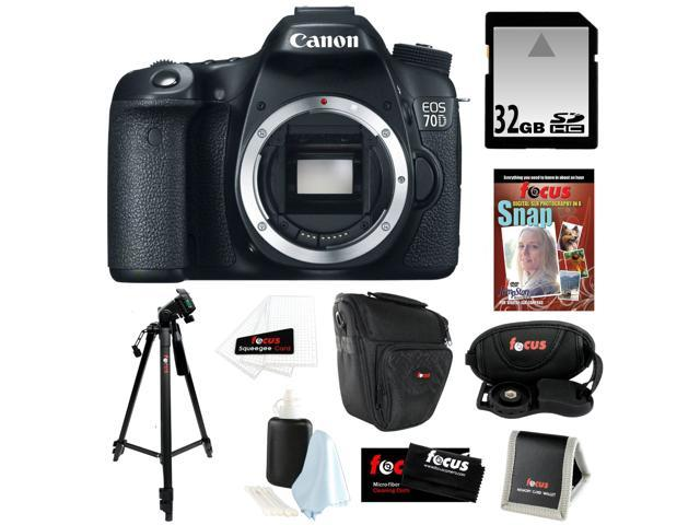 CANON 70D: Canon EOS 70D 20.2 MP Digital SLR Camera w/ Dual Pixel CMOS AF (Body Only) + 32GB Memory Card + Camera Case w/ ...