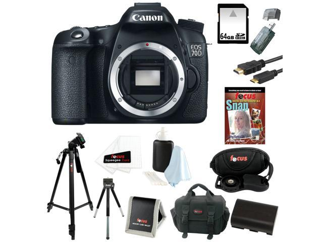 Canon 70d EOS 70D 20.2 MP Digital SLR Camera w/ Dual Pixel CMOS AF (Body Only) + 64GB Memory Card + Replacement Battery + Card Reader + Camera Case + Spider Tripod 10
