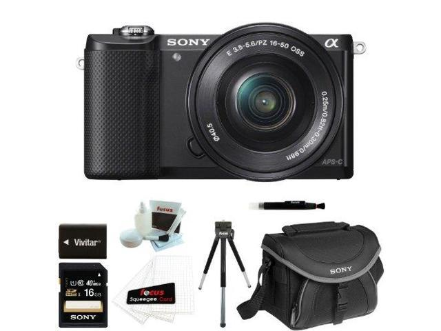 Sony a5000: ILCE5000LB ILCE-5000B ILCE 500B Alpha A5000 Mirrorless Digital Camera with 16-50mm Lens and 16GB Deluxe Accessory Kit