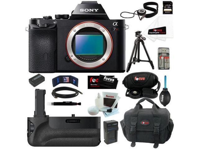 Sony a7r: 36.3 MP a7R ILCE7R/B ILCE7RB ILCE7R Full-Frame Interchangeable Digital Lens Camera (Body Only) + Sony VGC1EM Digital Camera Battery Grip + Sony 64GB SDHC Memory Card + Accessory Kit