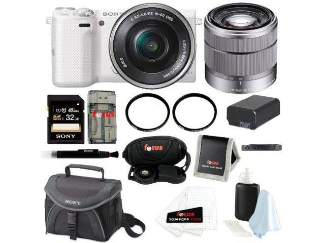 Sony NEX-5TL/W Mirrorless DSLR Camera w/ E-mount 16-50mm Lens (White) + Sony SEL1855 18-55mm Std Zoom Lens + Sony 32GB SD ...