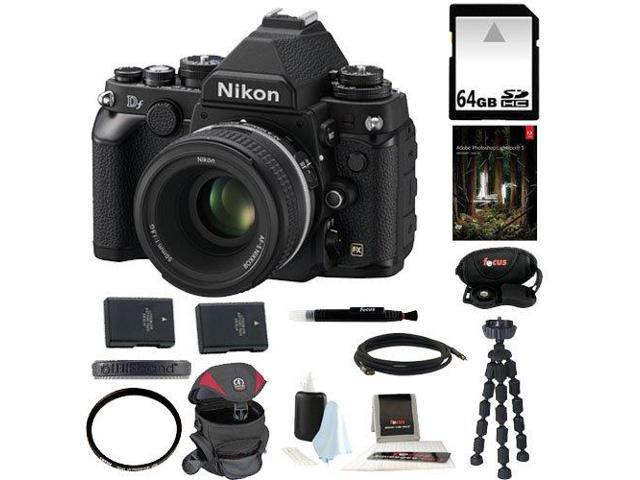 Nikon Df 16.2 MP CMOS FX-Format Digital SLR Camera Nikon Df 16.2 MP CMOS FX-Format Digital SLR Camera with AF-S NIKKOR 50mm f/1.8G Special Edition Lens (Black) + 64GB SD HC Memory Card + Accessories
