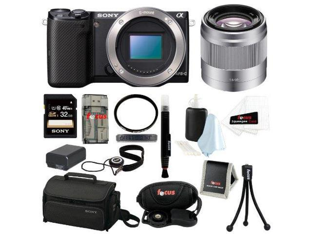 Sony NEX-5T NEX-5T/B NEX-5TB  Compact Interchangeable Lens Digital Camera (Body Only) + Sony E 50mm f/1.8 OSS Lens + Sony 32GB SD Card + Replacement Battery for NP-FW50 + Accessory Kit