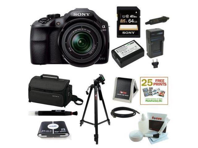 Sony ILCE-3000K ILCE-3000KB 20. 1MP A3000 Interchangeable Lens Camera with 18-55mm Zoom Lens (Black) with Sony 64GB SD Card + Addtional Wasabi Battery and Charger for NP-FW50 + Sony Case + Kit