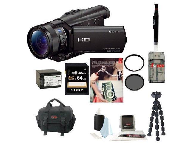 Sony HDR-CX900/B HDRCX900 CX900 4K Ultra HD Camcorder (Black) + Sony 64GB Micro SD Card + Wasabi Power Battery + Accessory Kit
