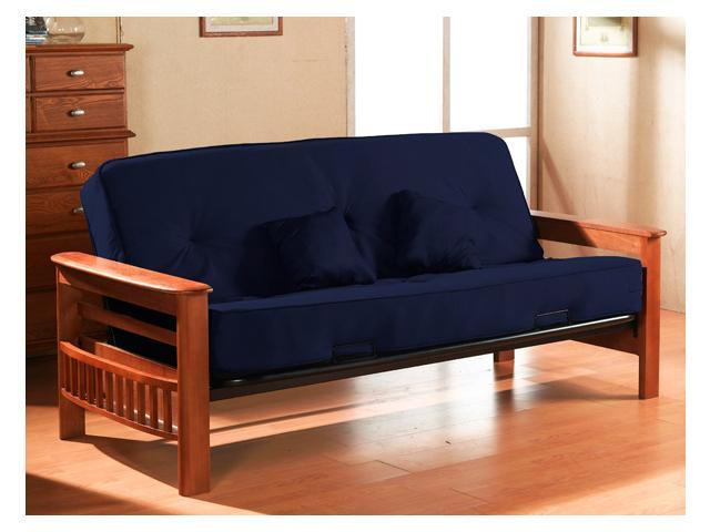 Futon with 8-Inch Pocket Coil Mattress and 2 Pillows (Lavish Cobalt)