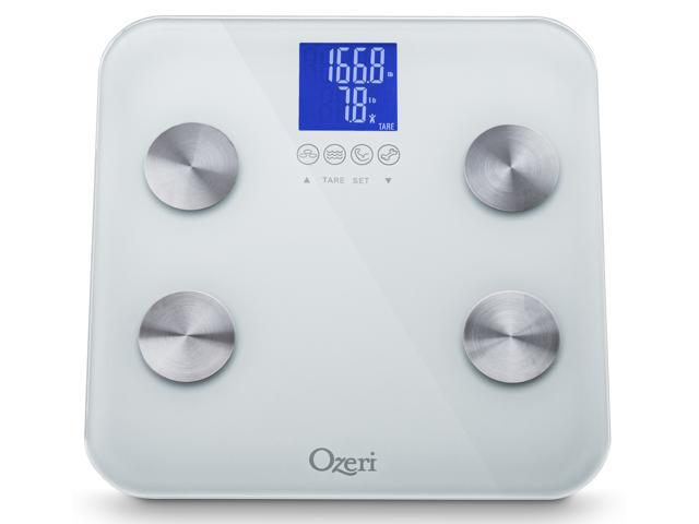 Ozeri ZB13-W2 Touch 440 lbs Total Body Bath Scale in White – Measures Weight, Fat, Muscle, Bone & Hydration with Auto Recognition ...