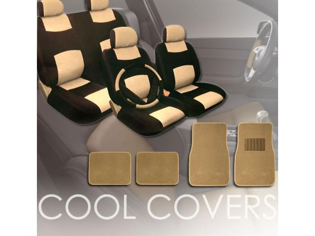 Universal PU Synthetic Leather Car Seat Covers Set With Carpet Floor Mats