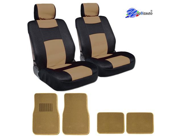 New 8 Pieces YupBizauto Brand Sleek and Elegant Design Universal Size Mesh and Synthetic Leather Bucket Car Truck Seat Covers with 4 Tan Color Carpet Floor Mats Set Black and Beige Color