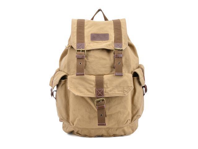 Otium 21101KA Cotton Canvas Genuine Leather Backpack Daypack - Large Size - Khaki