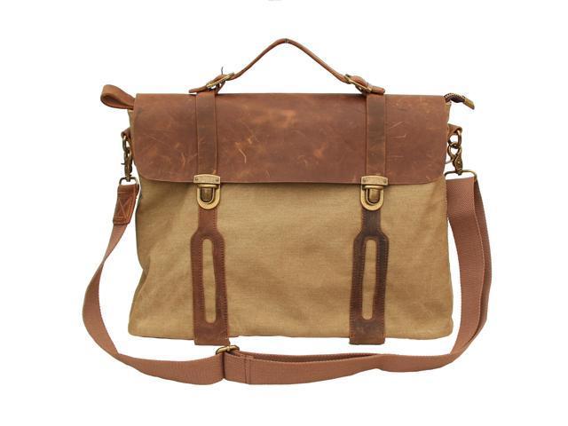Otium 30311KA Cotton Canvas Genuine Leather Laptop Messenger Bag - Khaki