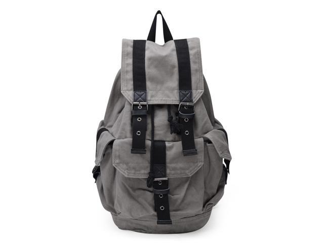 Otium 21101GRY-S Canvas Leather Backpack - Grey - Small Size