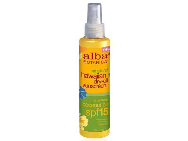 Hawaiian Coconut Dry Tanning Oil with SPF 15 - Alba Botanica - 4.5 oz (130 ml) - Oil
