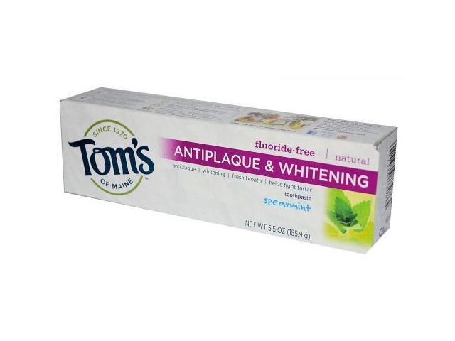 Tom's of Maine Antiplaque and Whitening Fluoride Free Toothpaste, Spearmint, 5.5-Ounce (Pack of 2)