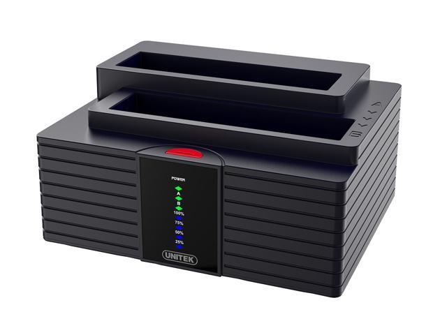"UNITEK 2.5"" 3.5"" SSD HDD SATA IDE Dual Bay USB 3.0 Docking Clone Station"