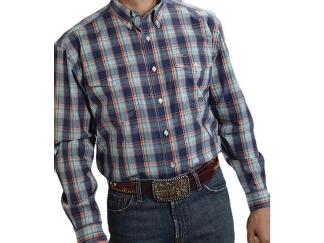 Roper western shirt mens l s tall plaid 2xlt turq 03 001 for Mens tall western shirts