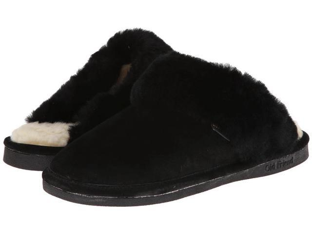 Old Friend Slippers Womens Sheepskin Scuff S 5-6 W Black 441201
