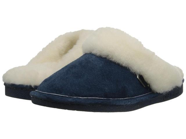 Old Friend Slippers Womens Sheepskin Scuff S 5-6 W Navy Blue 441201