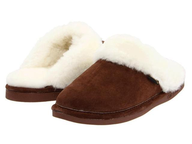 Old Friend Slippers Womens Sheepskin Scuff M 7-8 W Dark Brown 441201