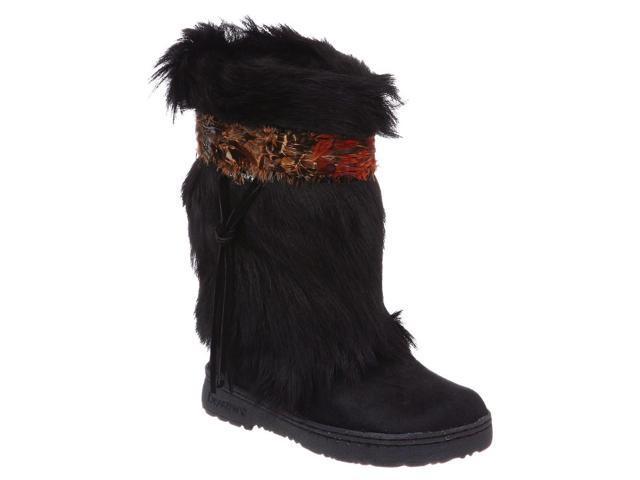 Bearpaw Boots Womens Kola Fur Feather Shaggy 5 Black 1290W