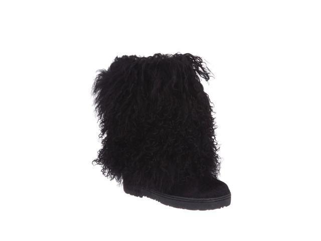 "Bearpaw Boots Womens Boetis Curly Lamb Fur 11"" 5 Black 1294W"