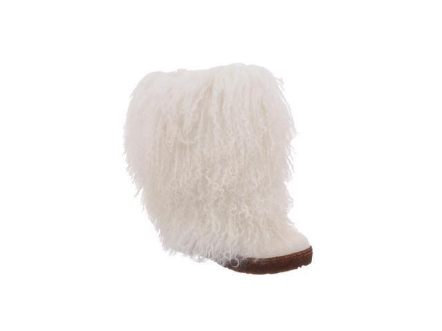 "Bearpaw Boots Womens Boetis Curly Lamb Fur 11"" 12 White 1294W"