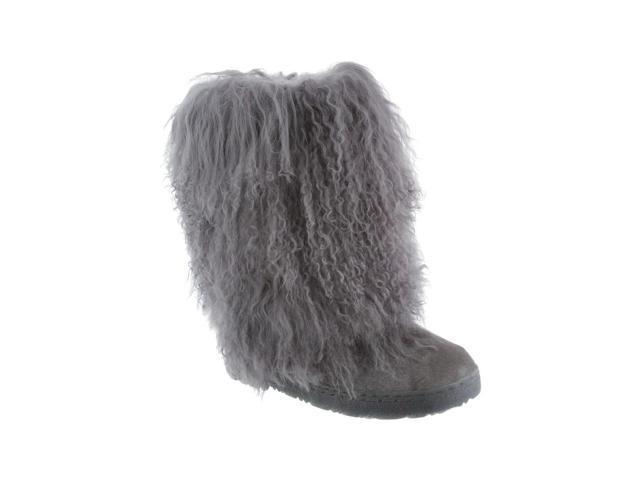 "Bearpaw Boots Womens Boetis Curly Lamb Fur 11"" 6 Charcoal 1294W"