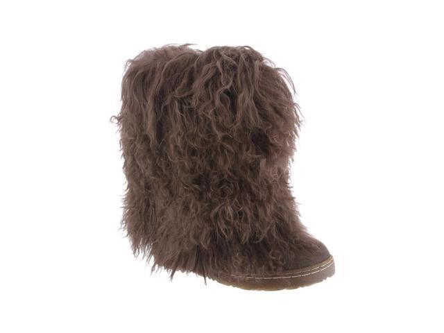 "Bearpaw Boots Womens Boetis Curly Lamb Fur 11"" 9 Chocolate 1294W"