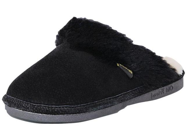 Old Friend Slippers Womens Sheepskin Scuff M 7-8 Black 441169