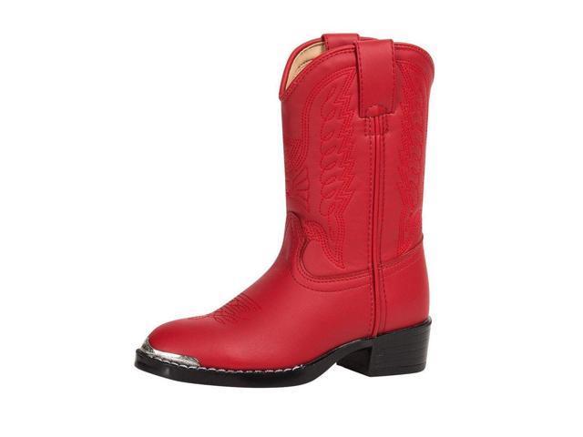"""Durango Western Boots Girls 8"""" Round Toe Cowboy Heel 3 Child Red BT855"""