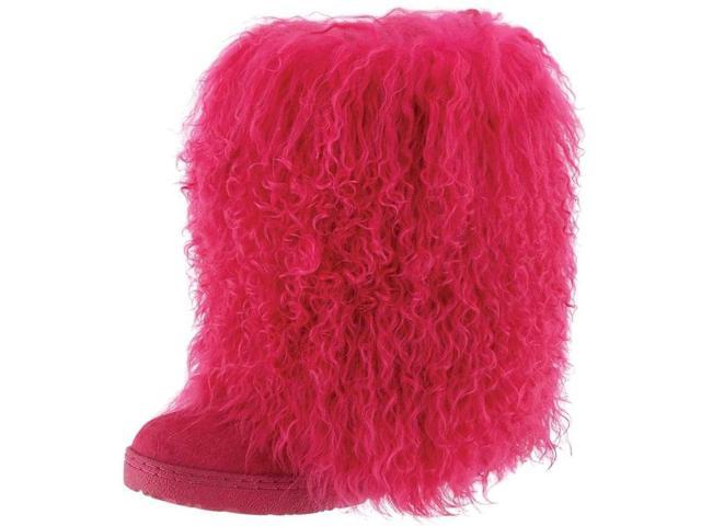 """Bearpaw Boots Womens Boetis Curly Lamb Fur 11"""" 8 Electric Pink 1294W"""