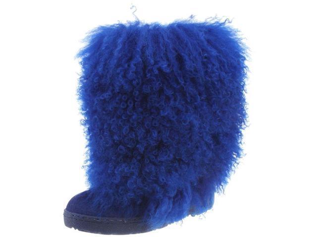 "Bearpaw Boots Womens Boetis Curly Lamb Fur 11"" 8 Cobalt Blue 1294W"