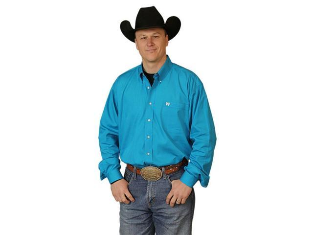 Cinch western shirt mens l s button down solid xs teal for Mens teal button down shirt