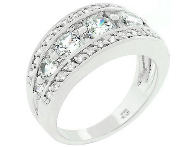 Silver-tone Seven Stone Cubic Zirconia Anniversary Ring