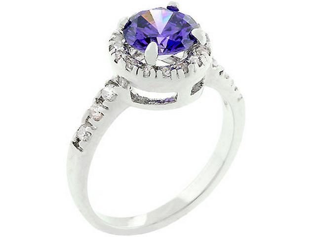 Silver-tone Dark Purple Cubic Zirconia Fashion Ring