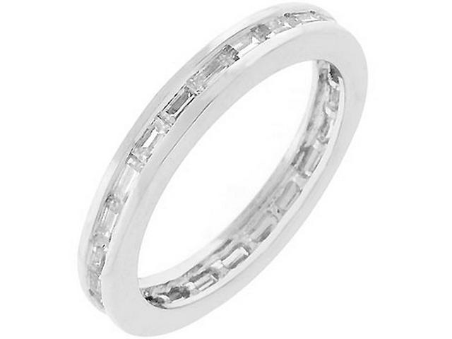 Silver-tone Baguette Cubic Zirconia Stacker Ring