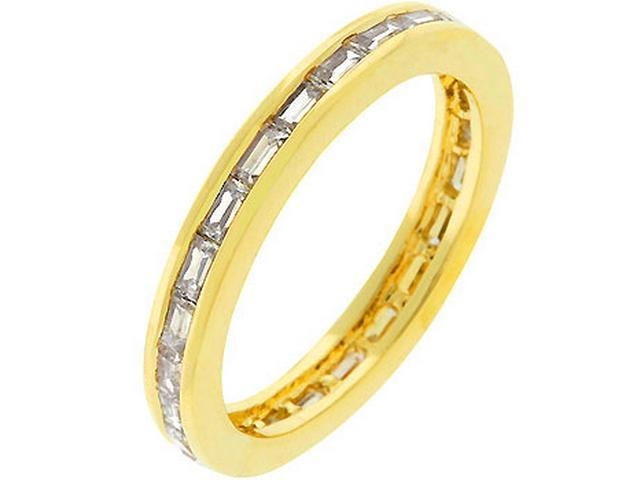Gold-tone Baguette Cubic Zirconia Stacker Ring