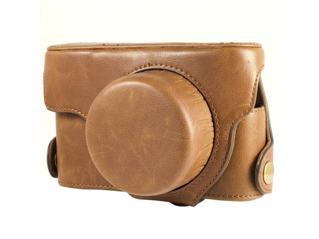 Leather Case Bag Faux PU for Leica X2 Camera Brown Color with Strap LF188Z
