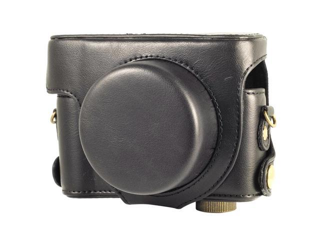 Leather Case Bag Faux PU for Panasonic LX7 Camera Black Color with Strap LF189B