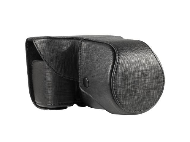 Leather Case Black Faux PU Pouch for Compact Camera Sony NEX-7 NEX7 LF197B